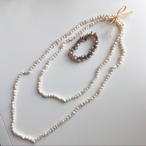Jewelry - REAL Pearl Double Strand Necklace + Bracelet Set